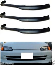 3 X For 92-95 Civic 4d Type-r Pu Poly Urethane Black Front Bumper Lip Spoiler