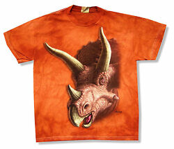 Mountain Triceratops Dinosaur Kids Youth Orange Tie Dye T Shirt New Official $11.99