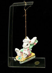 Easter Bunny Ornament And Stand Patchville Bunnies 1994 Made In Thailand