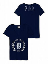 Detroit Tigers Victoria Secret Fitted V-neck Tee Pink Mlb Collection Nwt