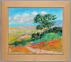 Kerry Hallam - Plain of Pampelonne Acrylic on Canvas Framed