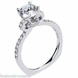 WOMENS DIAMOND ENGAGEMENT RING BRILLIANT ROUND CUT 1.36 CARAT 18KT WHITE GOLD
