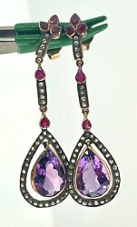 Fine Victorian 19.5ct Amethyst Diamonds And Ruby Dangle Earrings Rose Gold