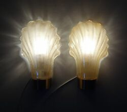 Barovier And Toso Attributed Murano Glass Wall Lamps Retro Vintage Sconces 1 Pair