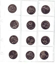 1990 Israeli Medals Collection 12 Flora And Fauna Protection Of Nature Wildlife