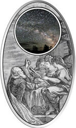Rare 2013 Fiji Large Oval Antiqued Silver Apocalypse Universe Milky Way-gift Box