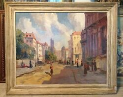 Oil On Canvas Painting Morning In Paris By Ernest Cramer Later J. J. Enwright