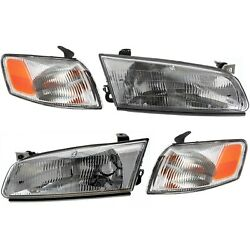 Driver And Passenger Side Headlight And Corner Light Kit Fits 97-99 For Toyota Camry