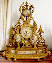 BIG FRENCH BRONZE ORMOLU CLOCK SEVRES HANDPAINTED PORCELAIN INSERTS 1800'S.