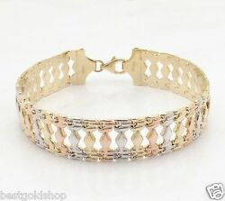 14mm Wide Cleopatra Stampato Gypsy Bracelet Real 14k Yellow White Rose Pink Gold