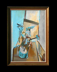 Lovely Original Antique Still Life Oil On Board Painting In Impressionist Style