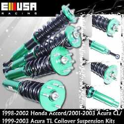 Full Coilover Suspension Kits For 2001 2002 2003 Acura Cl Adj Ride Heihgt Green