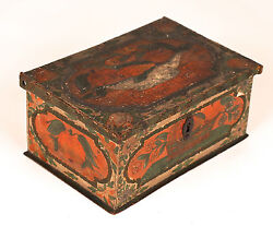 Antique Polychrome Painted Box Coffret Casket, Early 19th C. Or Earlier 2