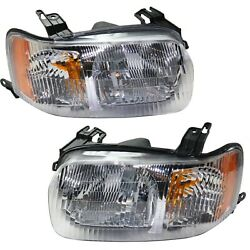 Headlight Set For 2001-2004 Ford Escape Driver And Passenger Side W/ Bulb