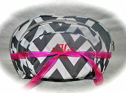 Personalized Chevron 3 Piece Cosmetic Bag Set wFREE Monogram Travel Bridal Gift