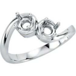 Custom Made Two-stone Mothers Ring In 14 Kt White Gold, Choose Your Stones