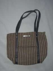 Longaberger Brown Plaid Purse Bag Small Tote Free Shipping -0712t20
