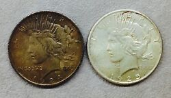 Lot Of Two Peace Silver Dollars 1924 And 1925