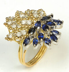 14k Gold Diamond And Sapphire Ring - Vintage Cocktail Ring