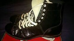 Nos Vtg 40and039s 50and039s Ny Giants Black Hi-top Menand039s Football Shoes Kangaroo Leather