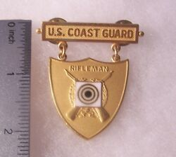 Usa Coast Guard Gold Rifle Excellence In Competition Badge