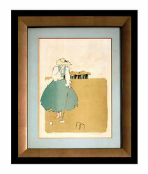 Woman Playing Croquet And Original Vintage Woodcut Print, Framed, Signed
