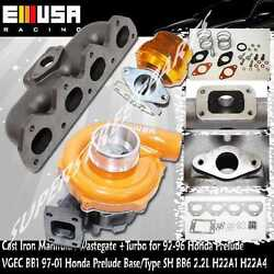 Cast Iron Manifold Andadj. 38mm Wastegate+turbo Fits97-01 H22a Prelude Type S Jdm