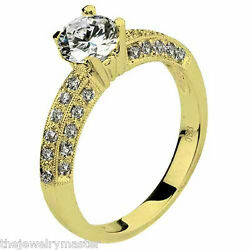 WOMENS DIAMOND ENGAGEMENT RING BRILLIANT ROUND CUT 1.33 CARAT 14K YELLOW GOLD