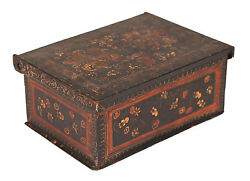 Antique Polychrome Painted Box Coffret Casket, Early 19th C. Or Earlier 1