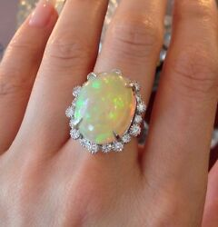 Gia Certified 13.33 Ct Natural Opal And Diamond Ring In Platinum - Hm1414be