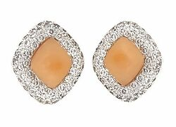 Coral And Diamond Button Earrings In 14k White Gold- Hm1411sz