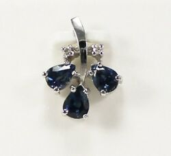 Vintage High Grade Blue Sapphire And Diamond Pendant In 18kt White Gold