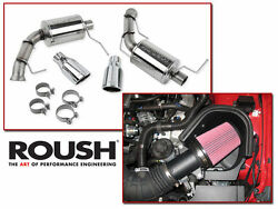 11-14 Mustang Gt 5.0 Roush Cold Air Intake Kit And Axle Back Muffler Exhaust Combo