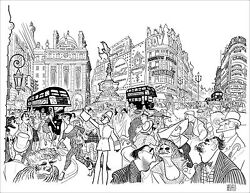 Al Hirschfeld's Piccadilly Circus Hirschfeld Family Hand Signed Le Lithograph