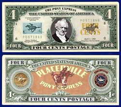 1-pony Express Mail 4 Cent Postage Dollar Bill W/ Clear Protector Sleeve- W2
