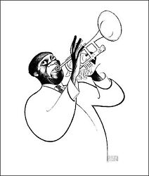 Al Hirschfeld's Louis Satchmo Armstrong Hand Signed Limited Edition Lithograph