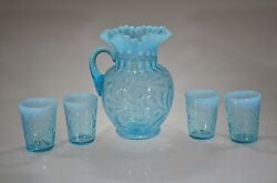 Rare Blue Opal No. 351 Buttons And Braids Pitcher 4 Tumblers C 1908 Fenton Museum