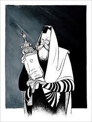 Al Hirschfeld's Rebbe Schneerson Hand Signed Limited Edition Lithograph