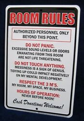 ROOM RULES *US MADE* Embossed Sign Teen Bedroom Man Cave Garage Bar Wall Decor
