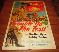1954 Trouble On The Trail 1-sh Movie Poster Vg- Guy Madison 54/536