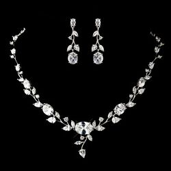 CZ Crystal Necklace & Earrings  for Wedding with Antique Leaf Flower Design