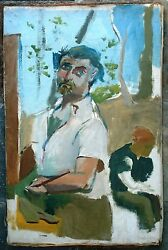 Saul Lishinsky And Self-portrait Of The Artist As Young Man Oil On Canvas Painting