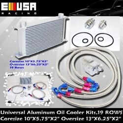 Universal 10 Row Oil Cooler Engine Kit+oil Filter Relocation Kits Combo