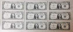 Lot Of 9 Consecutive 1957 Silver Certificates