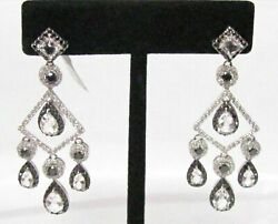 Fine Victorian-style Natural White Topaz And Diamond Chandelier Earrings
