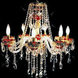 New Chandelier Alexandria Red W/ 24k Gold Plated 28x26