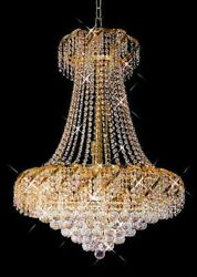 New Crystals Chandelier Belenus 24 Gold Plated 32x26