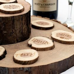 Personalised Wedding Favours. Small Rustic Log Slices. Vintageandnbsptable Decorations