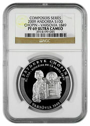 Rare 2009 Andorra Large Proof Silver 10 D Chopin 200 Years-1849 Warsaw Ngc Pf69
