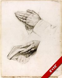 Praying And Pondering Hands Graphite Painting Bible Art Real Canvas Gicleeandnbspprint